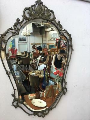 GORGEOUS FRENCH STYLE ORNATE GILT BRASS FRAMED WALL MIRROR . 100 x 66 cm