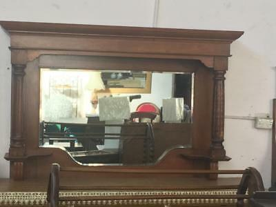 Lovely Edwardian Carved Oak Overmantle Mirror..with Large Bevel Plate