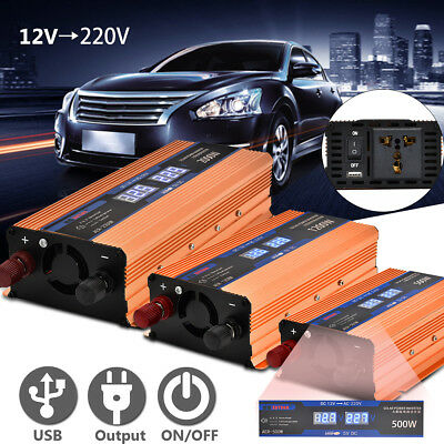 500/ 1200/ 2000W Auto LED Display Power Inverter 12V A 220V USB Convertitore