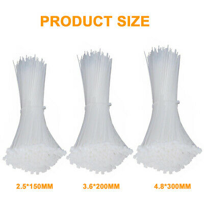 250/500/1000PCS Bulk Cable Ties Zip Ties Nylon UV Stabilised 4.8mm x 300mm Black