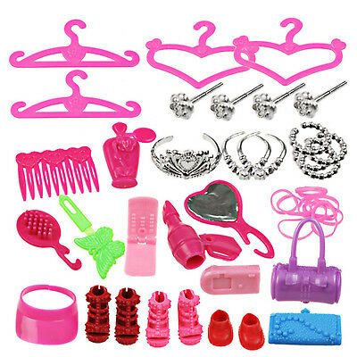 42PC Doll Accessories Barbie Dolls Cute Clothing Dresses Shoes Hangers Toys HIGH