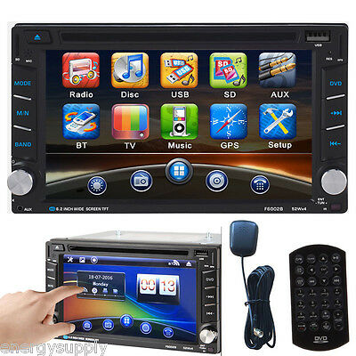 "2 Din 6.2"" Bluetooth Navigatore Autoradio GPS Car DVD Player FM iPod MP3 TV TF"