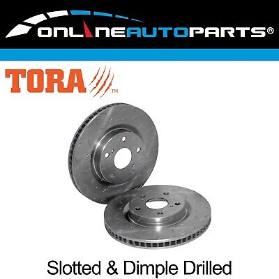 2 Front Drilled + Slotted Disc Brake Rotors suits Toyota Camry ACV40 AHV40 06~12