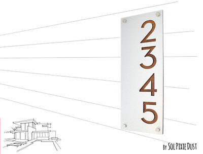 Modern House Numbers, Alucobond with Varnish Dark Oak Wood- Vertical 2 - Contemp