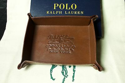 Polo Ralph Lauren Coin Key Trinket Tray Brown Leather $125