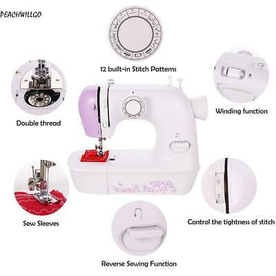 Electric Mini Multifunction Portable Desktop Home Sewing Machine Double Thread~