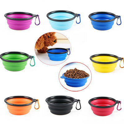 Collapsible Foldable Pet Dog Cat Water Dish Silicone Feeder Feeding Bowl Travel