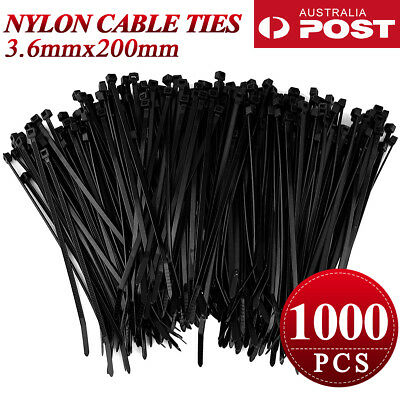 500/1000 PCS Bulk Cable Ties Zip Ties Black (3.6mm x 200mm) Nylon UV Stabilised