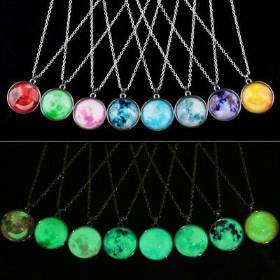Stainless Steel Women Fashion Fluorescent Space Star Pendant Chain Necklace Gift