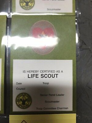 Vintage Boy Scouts Of America Pocket Certificate Life Scout 1994