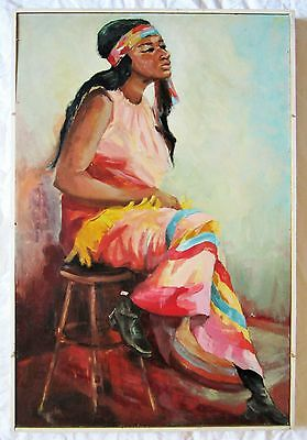 "Native American Indian Girl Painting Maiden Original Vintage Signed 25"" X 37"""