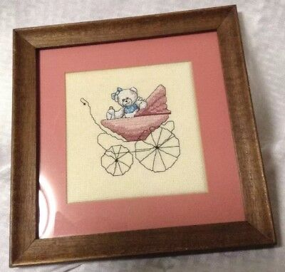 Framed Crossstick Pink Baby Carriage W/Bear Decorative Nursery Picture. 1x10x10