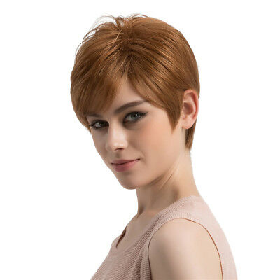 Natural Light Brown Fluffy Short Straight Hair Wigs Women's Fashion Wig New