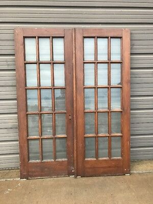 An 412 Match Pair Antique Pine Flat Glass French Doors 60.5 X 79.5