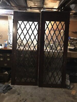 Antique 1910s Arts & Crafts Quarter Sawn Oak Leaded Glass Swinging French Doors