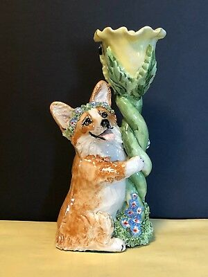 Corgi Candle Holder Hand Crafted Sculpture by Susan Kimmel