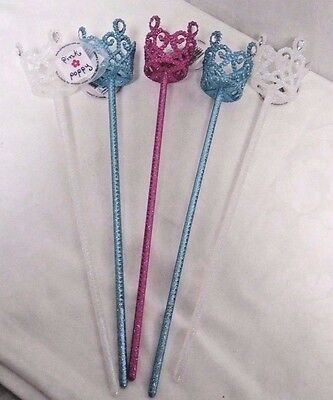Pink Poppy Girls Sparkly Crown Wands Lot of 5 Pink Blue White New With Tags