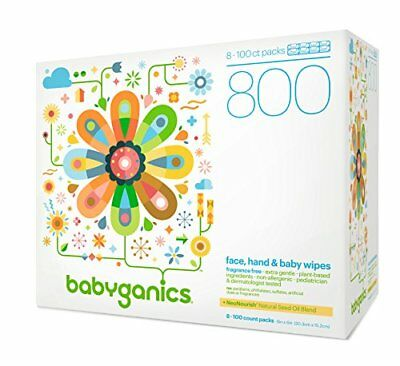 Babyganics Face, Hand & Baby Wipes, Fragrance Free, 800 Count (Contains Eight