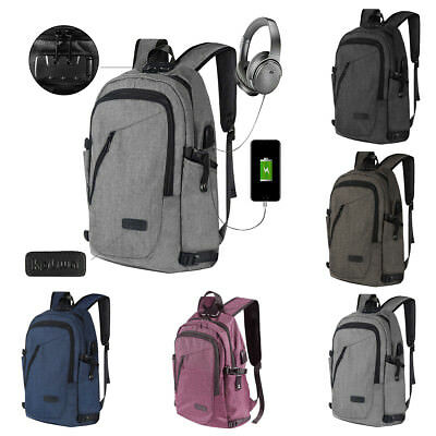 Men Women Waterproof Anti-theft Laptop Backpack Travel School Bag W/ USB Charger
