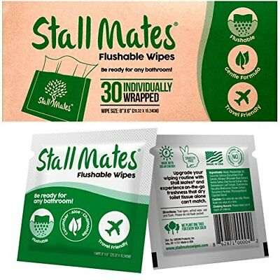 Stall Mates: Flushable, individually wrapped wipes for travel. (30 on-the-go