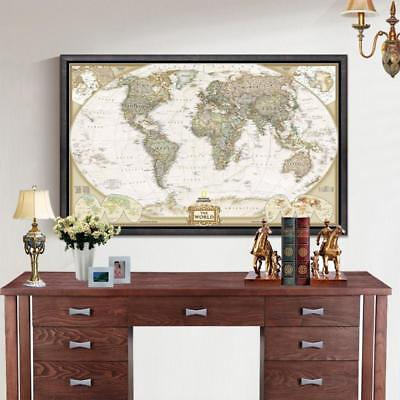 World Map Office Supplies Detailed Antique Poster Wall Chart Retro Paper Matte