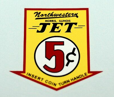 Northwestern Jet Five Cent, Water Slide Decal # Dn 1077 For Vending