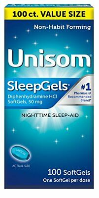 Unisom SleepGels Nighttime Sleep Aid With Diphenhydramine, 100 SoftGels