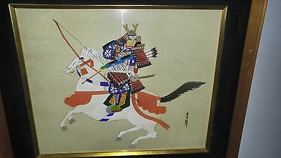 "Pair of Japanese ink and colored wash ""Samurai on prancing horses"""