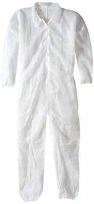 Keystone Polypropylene Coverall, Disposable, Elastic Cuff, White, Xlarge (Case