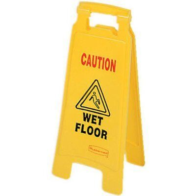 """Rubbermaid Commercial 2-Sided Floor Safety Sign with """"Caution Wet Floor"""""""