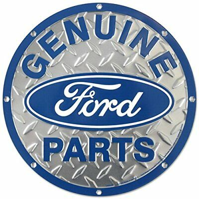 Ford Genuine Parts Diamond Plate Die-Cut Round Tin Sign