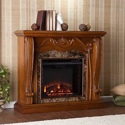 Luxury Corina Electric Fireplace w/ Faux Marble Walnut Molded Victorian Rustic
