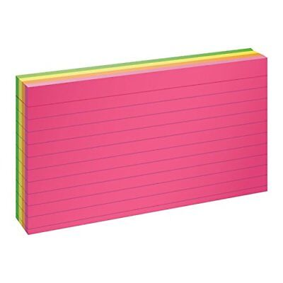 """Oxford Glow Index Cards, 3"""" x 5"""", Ruled, Assorted Bright Colors, 100/Pack"""