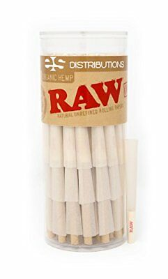 RAW Organic 1 1/4 Pure Hemp Pre-Rolled Cones With Filter (75 pack)