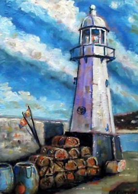 """Lobster Pot Lighthouse : Original Marine Oil Painting by Kevin Corroue 8"""" X 12"""""""