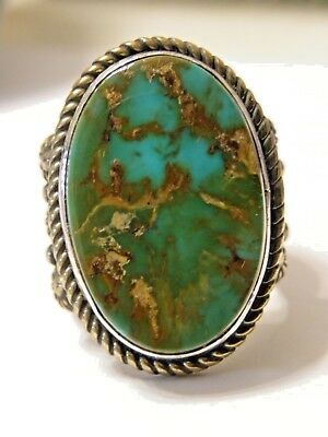"""Native American Albert Jake's """"Holy Earth"""" Turquoise & Sterling Silver Ring sz 9"""