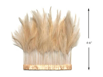 1 Yard - Beige Stripped Rooster Hackle Wholesale Feather Fashion Trim Millinery