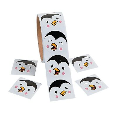 """Penguin Face Roll of Stickers (100 stickers per roll) 1 1/2"""""""