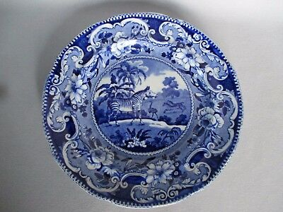 Antique Enoch Wood & Sons England Flow Blue Sporting Series Zebra Plate c1825