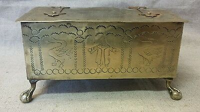 Antique Continental Brass  Wood Lined Box