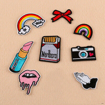 DIY Cigarette Rainbow Lip Embroidery Sew On Iron On Patch Badge Applique Craft
