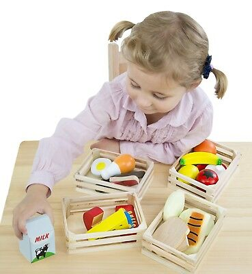 Food Group Toy Children Kids Kitchen Food Pretend Play Set w 4 Wooden Crates New