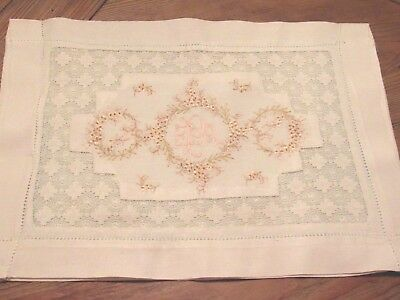 Vintage French Linen Embroidered/Teneriffe Lace Work Boudoir Case
