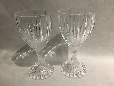 "Pr. Mikasa Cut Crystal Wine Glasses Park Lane Vertical Lines 6.25"" High"