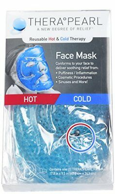TheraPearl Face Mask, Reusable Hot Cold Therapy Mask with Gel Beads, Flexible