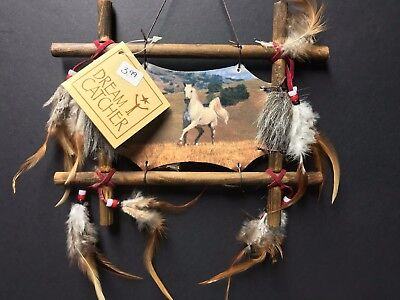 "9"" x 8"" Horse Equestrian Dream Catcher Wall Hang Decor Feathers Framed Beads"