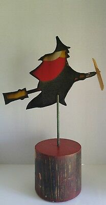 Antique Vtg Witch Weathervane Halloween Die Cut Porcelain  Metal Sign