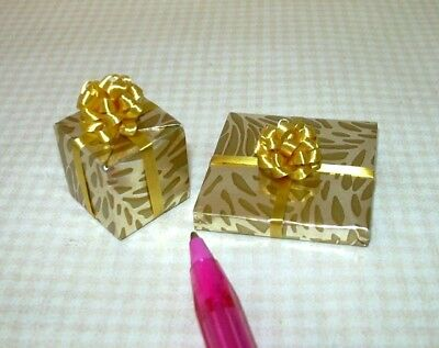 Miniature Pair (Set of 2) Christmas Present Gifts, SET #1: DOLLHOUSE 1/12