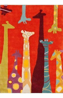 "NULO-HJUZB33A76096-Hand Tufted Giraffe_Red_7' 6"" x 9' 6"""