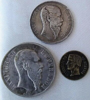 """Mexicans, """"3"""" original coins from the time of Maximilian I of Mexico"""